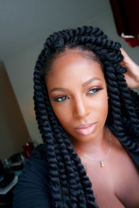 Janet Collection: Havana Mambo Twist 2X- 4.5packs of hair. 4 black & .5 purple at the nape